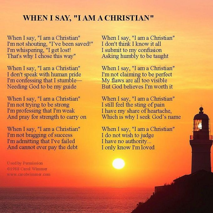 "Christian Poems | ... poem "" When I Say I Am A Christian "". Below is an excerpt from our"
