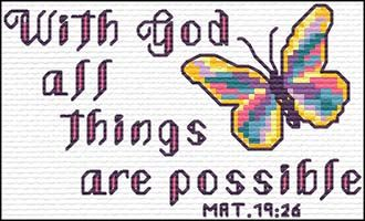 With God all things are possible - Matthew 19:26 Quick Stitch Promises - Small Inspirational Cross Stitch Designs