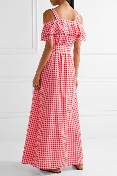 Draper James - Dolly Cold-shoulder Gingham Cotton And Silk-blend Maxi Dress - Pink - US
