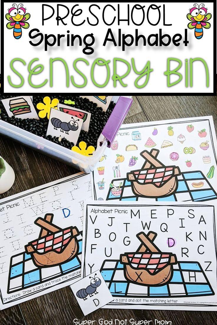 Preschool Spring Alphabet Sensory Bin Super God Not Super Mom Alphabet Activities Preschool Spring Preschool Alphabet Preschool [ 1104 x 736 Pixel ]