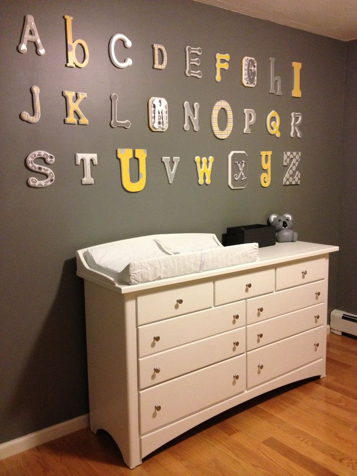 alphabet and dressers on pinterest baby nursery yellow grey gender neutral