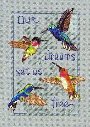 Free Hummingbird Cross Stitch Patterns   Four hummingbirdscross stitch pattern
