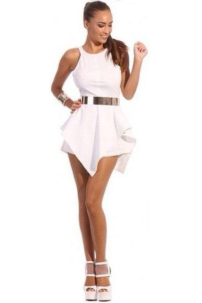 Sexy O Neck Tank Sleeveless Asymmetrical White Polyester A Line Mini Dress