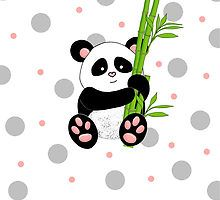 Cute Panda with polkadot background by Michelle *