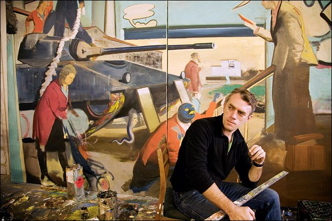 Neo Rauch with one of his paintings
