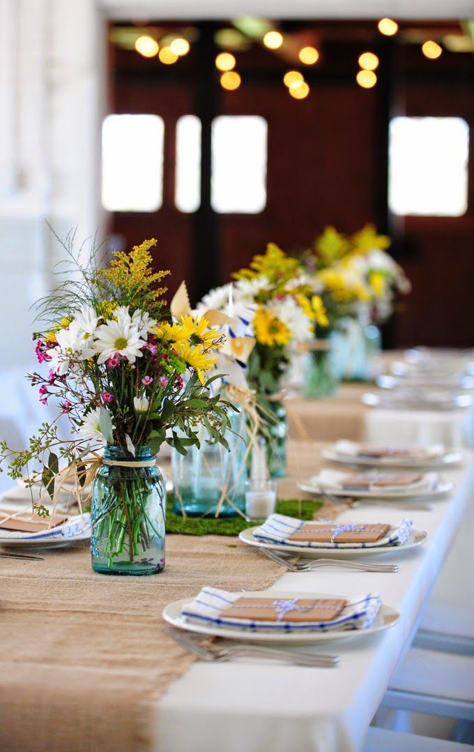 10 Country Chic and Rustic Wedding Tablescapes - Mason Jars and Antique Pitchers