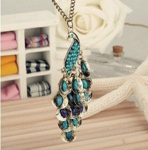 Big Bargain Antiqued Peacock Dewdrop Multi Sequin Pendant Long Chain Necklace Fashion Gift