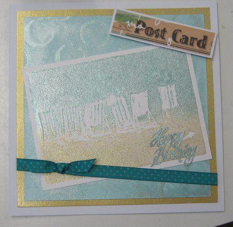 Handmade card. Deckchairs Art Stamp, Starlights, Broken Circle stencil - available at imaginationcrafts.co.uk
