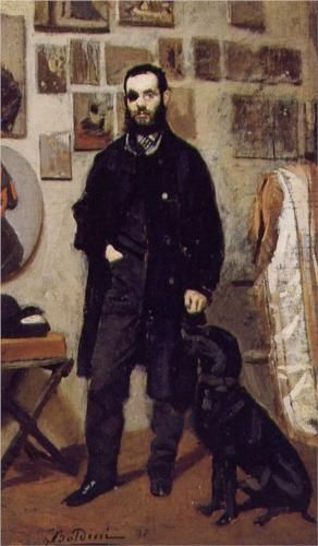 """""""Portrait of Giuseppe Abbati"""", 1865, by Giovanni Boldini (Italian, 1842-1931). Abbati (1836-1868) was an Italian artist who belonged to the group known as the Macchiaioli. He participated in Garibaldi's 1860 campaign, suffering the loss of his right eye at the Battle of Capua. He died at the age of thirty-two after his own dog bit him, infecting him with rabies."""