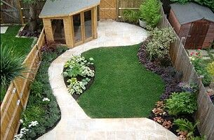 The path to the shed and landscaping leading to it