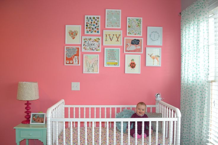 Have a bare wall to fill? Create a fun gallery wall that can bring out the theme or personality of your nursery! We love these prints from Lucy Darling Shop. #Nesting:  Cots, Fun Galleries, Colors, Baby Baby, Galleries Wall, Cribs, Bambi Nurseries, Baby Stuff, Baby Nurseries