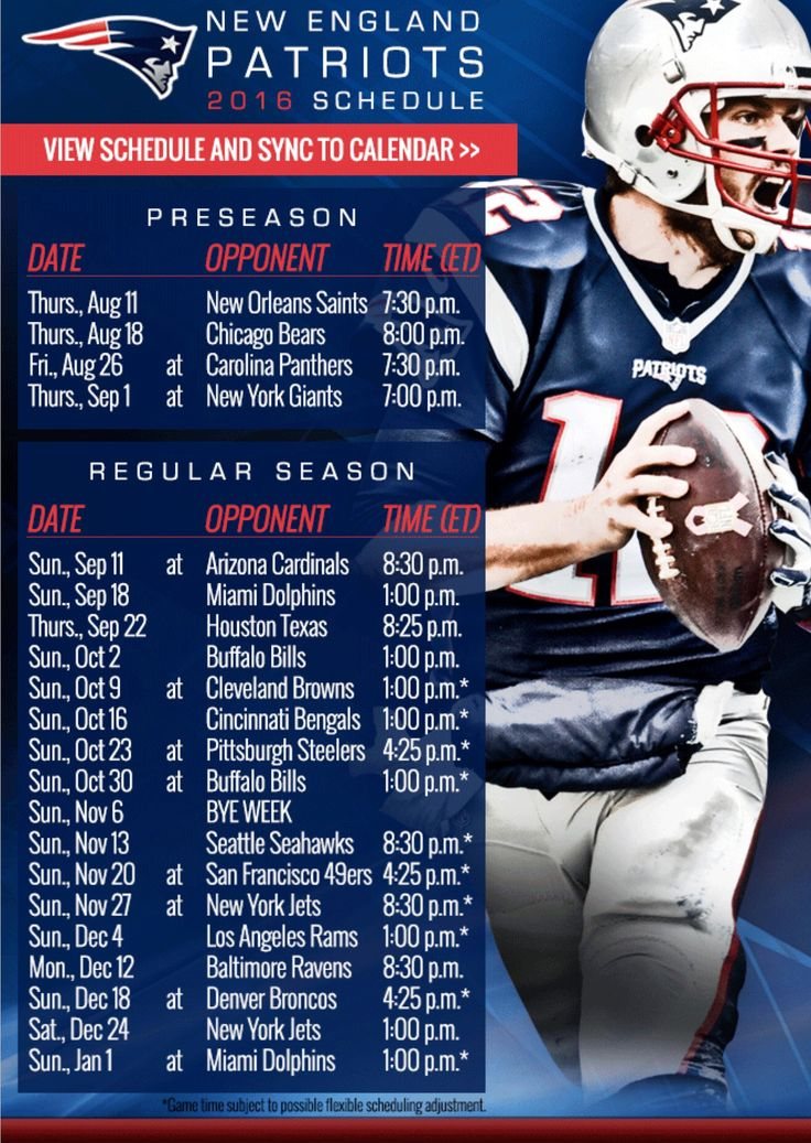 Dramatic image for new england patriots printable schedule