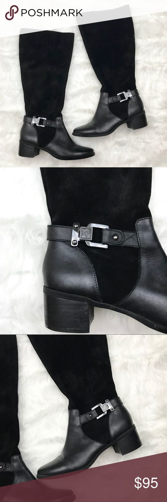 Anne Klein Riding Boots, Tall Leather Black 8.5 Absolutely stunning Anne Klein riding boots! They are knee height and feature a decorative buckle with the Anne Klein logo.   CONDITION Excellent used condition! A few imperfections here and there (see pictures) and a little wear on the bottoms, but otherwise in great condition.   SIZE US 8.5 (EUR 38.5) Shaft: 15.5in Calf: 17in Heel: 1.75in  MATERIALS Leather + man made  • ALL OFFERS WELCOME! • Lowballs don't offend me. I'm happy to negotiate…