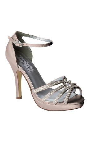 58a4582fd73 This satin platform pair sparkles with a strappy crystal vamp. Wear white  with your wedding