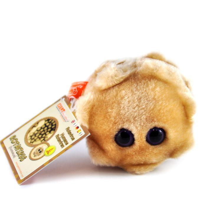 Rotavirus jest pluszakiem kolorem, kształtem i wyglądem przypominającym żywego wirusa wywołującego najpowszechniejsze infekcje wirusowe wśród małych dzieci. Jest od niego jednak znacznie większy – mierzy 9 cm.