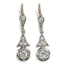 Art Déco um 1920: Antike Ohrringe, Diamanten in 585 Gold & Platin / Diamant