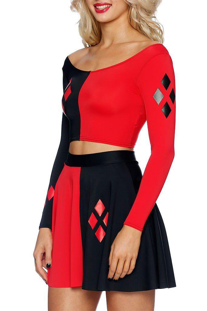 harley long sleeve crop top with skirt