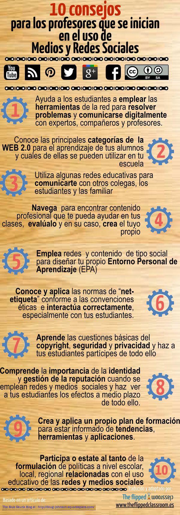 10 Consejos para Docentes sobre el Uso de las Redes Sociales | #Infografía #Educación