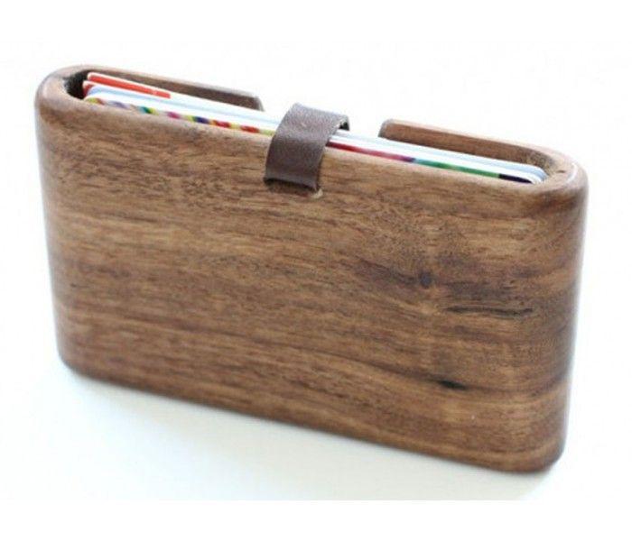 Pasjeshouder hout - Slim Timber walnoot | Creditcardhouders.com