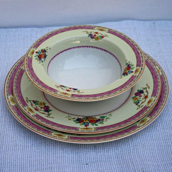 Antique Myott bone china place setting, vintage pink dinner plate, salad plate, bowl, English plate and bowl set, pink dinner set