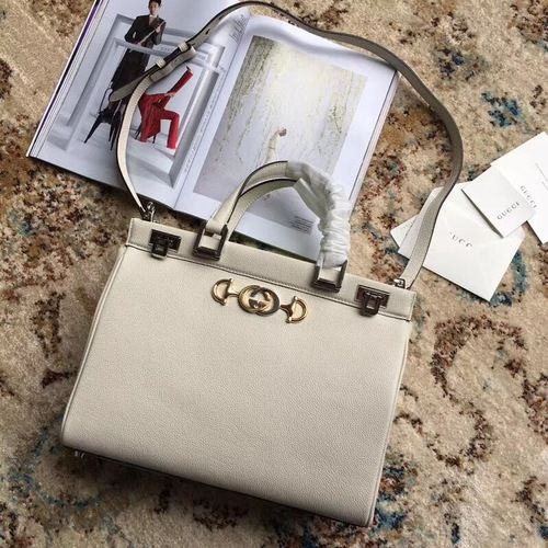 b6d93b3245 Gucci Zumi grainy leather medium top handle bag White in 2019 ...