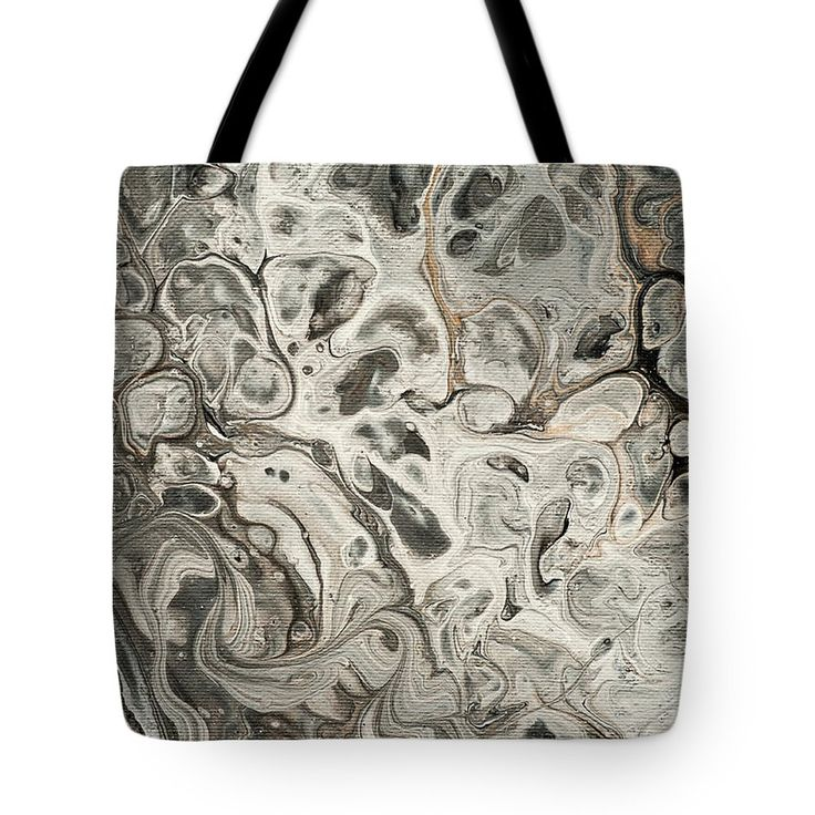 Fifty Shades Of Grey Fragment 2.  Abstract Fluid Acrylic Painting Tote Bag by Jenny Rainbow.  The tote bag is machine washable, available in three different sizes, and includes a black strap for easy carrying on your shoulder.  All totes are available for worldwide shipping and include a money-back guarantee.