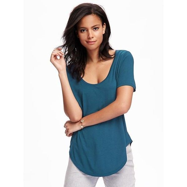 Old Navy Womens Relaxed Curved Hem Tee ($12) ❤ liked on Polyvore featuring tops, t-shirts, petite, show and teal, old navy, jersey t shirt, petite t shirts, old navy t shirts and petite tops