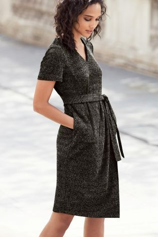 Buy Charcoal Knit Look Dress from the Next UK online shop