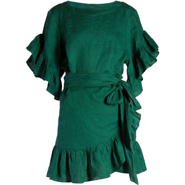 Isabel Marant Étoile Delicia ruffled linen mini dress (€415) ❤ liked on Polyvore featuring dresses, green, short wrap dress, mini dress, wrap dress, blue wrap dress and blue green dress