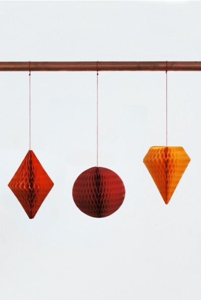 O-CHECK - Christmas Decorations - Honeycomb Set - Various  Available from NoteMaker.com.au