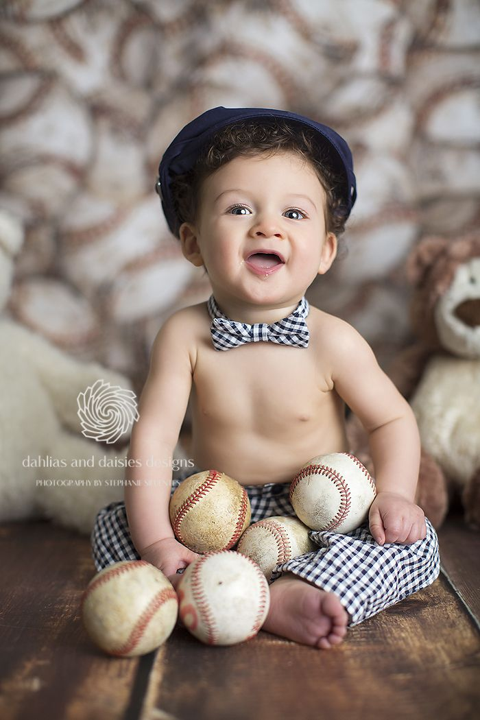 Dallas baby photographer 6 month old baseball vintage boy