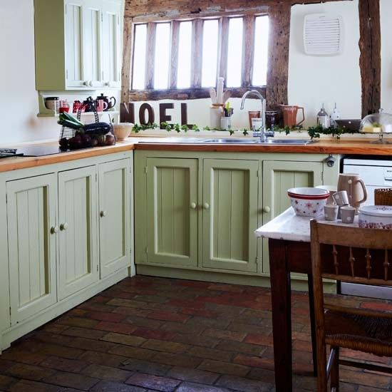Sage Green Country Kitchen: Darby Butchers Block, Marble Top