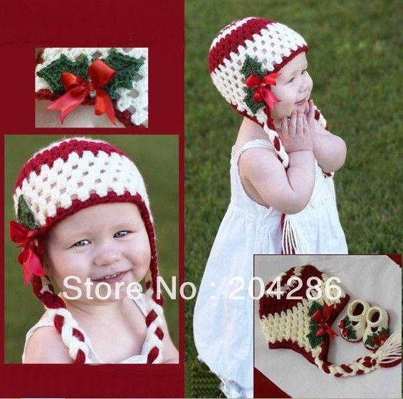 Вязание крючком девочка Рождество обувь hat набор красный зеленый мэри джейн хлопчатобумажной пряжи Рождественский костюм 6 компл. онлайн обуви китая оптом дешевые