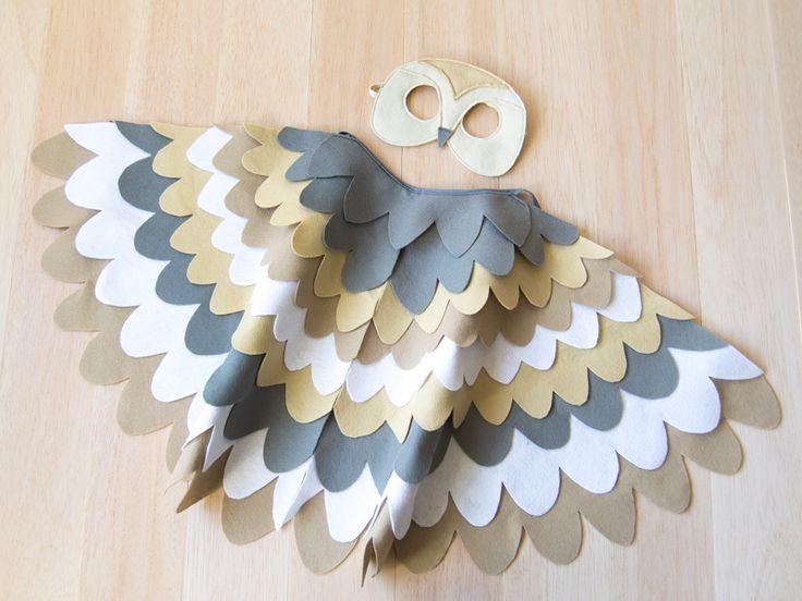 Barn Owl Costume Kids Bird Costume Owl Mask and Wings Barn owl costume for kids. Barn owl mask and wings. Bird costume for children to dress up as a barn owl. Barn owl costume for toddlers and older children.