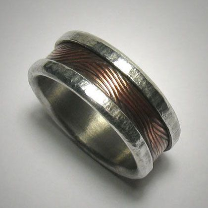 Men's wedding band - Rustic silver copper custom handmade artisan wedding band - Mens mixed metal engagement, commitment or promise ring