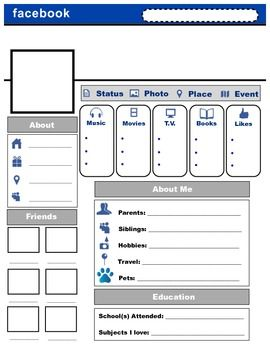 "A Social Media ""Facebook"" profile that students can complete at the beginning of the school year or a new semester/trimester.Students complete the ""About Me Profile"" and share it with the class in a presentation or you can use it to decorate the classroom and learn about your new students."
