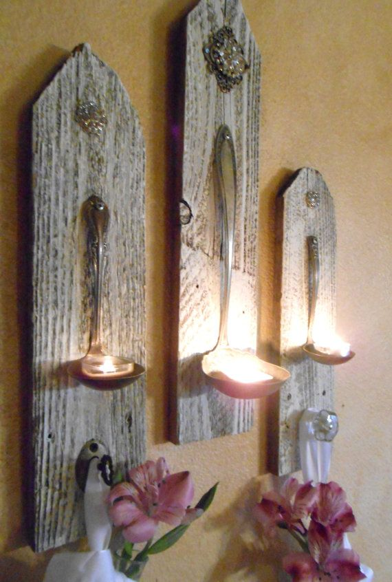 Wall Sconces Shabby Chic : 3 Shabby Chic Hanging Candle Holders ,Silver Plate Ladle wall sconces ,Rhinestones, Vintage ...