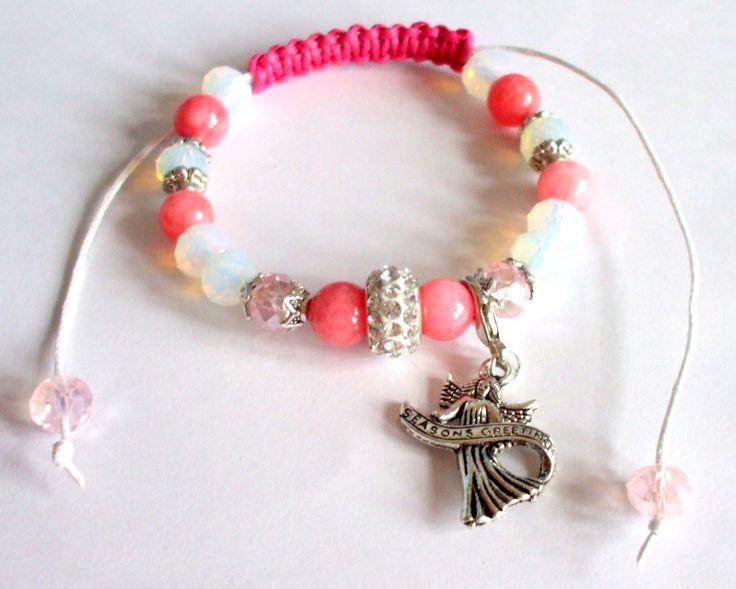 Rhodochrosite and opalit gemstone beads bracelet Shamballa bracelet Sliding knot Winter jewel Semi-precious stone jewel Gift for her Handmad by dorijewelnook on Etsy