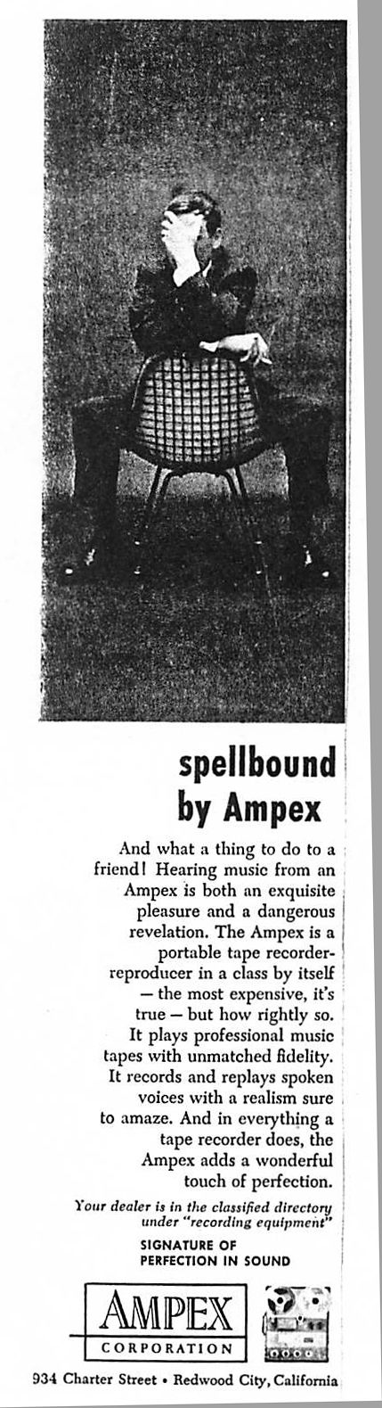 #Eames Upholstered Wire Chair in a 1955 Ampex advertisement