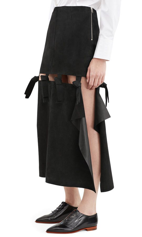 Acne Studios Hein black knotted suede skirt #AcneStudios #Resort2016