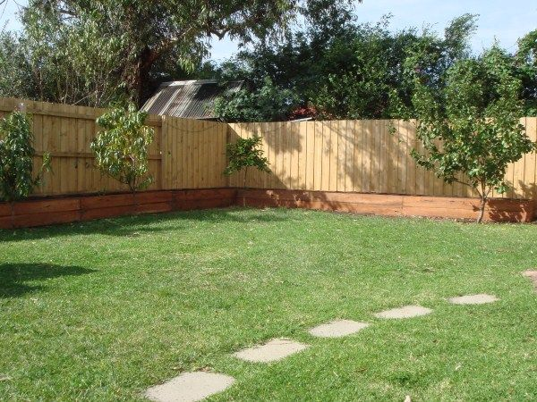 L-shaped raised bed & fruit trees designed & constructed by Yummy Gardens, Melbourne