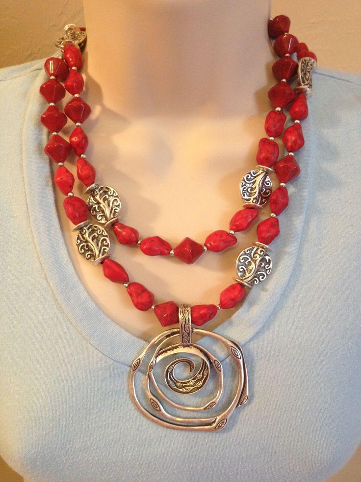 Salsa Necklace doubled with Silver Swirl Pendant.  #Salsa #SilverSwirl #PremierDesigns