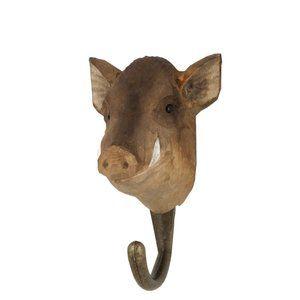 DecoHook Wild Boar / Vildsvin / Wildschwein handcarved clothes hanger from Wildlife Garden - maybe for the kitchen? See all the animals at: wildlifegarden.info