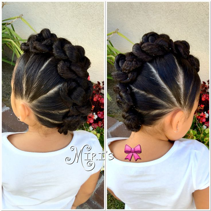 Mohawk  with twists hair style for little girls