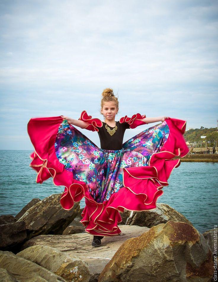 """Детская цыганская юбка """"Розетта"""" - комбинированный, цветочный, фуксия, Цыганский костюм"""