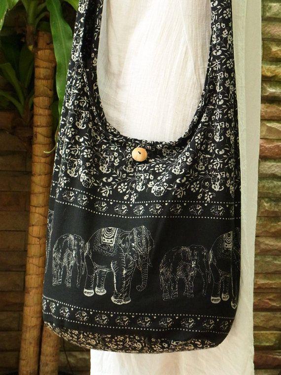 Hobo Boho Crossbody Hippie Purse Bag Elephant Print by TipBoutique