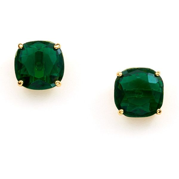 KATE SPADE Emerald Small Square Stud Earrings ❤ liked on Polyvore featuring jewelry, earrings, stud earring set, kate spade, emerald stud earrings, emerald jewelry and emerald jewellery