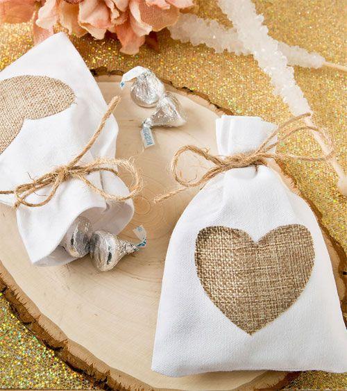 Geschenkbeutel aus Baumwolle mit Jute-Herz - 12 Stück