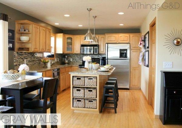Gray Kitchen, Sherwin Williams Anonymous Paint Color, DIY Tile Backsplash,  Maple Kitchen Cabinets, Stainless Steel Light Pendants   Kitchen Ideas ...