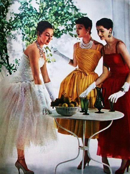 Cocktail dresses by Christian Dior, Jacques Fath, Jacques Heim. Photo by Willi Rizzo 1956